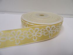 2 metres or 20 metre Roll 25mm Yellow Pastel Colour Flower Print Ribbon Floral Cotton